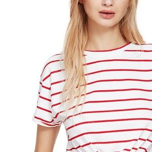 Romwe Knot Front Cuffed Top